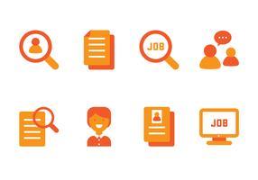 Ícone plano da pesquisa de emprego vetor