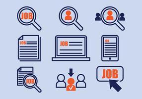 Ícones de pesquisa de emprego vetor
