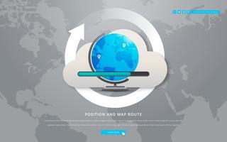 Posição do mapa global e detalhes da localização do mapa vetor