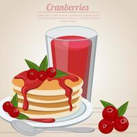 suco de cranberries e panquecas vetor