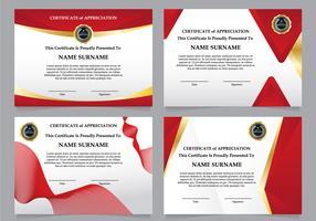 Conjunto de certificados de luxo do diploma vermelho vetor