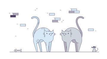vetor de gatos com raiva grátis