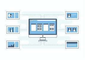 Interface de banco de dados azul plano vetor