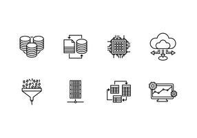 Sistema de banco de dados definido ícone linear