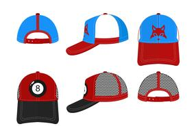 Conjunto do vetor do chapéu do camionista