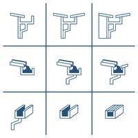 Conjunto de ícones de calha de telhado vetor
