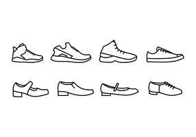 Ícones de sapatos vetor