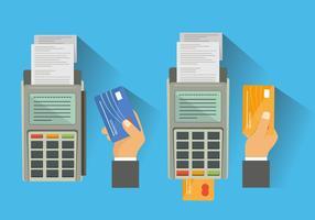 Leitor de cartão bancário vetores planos