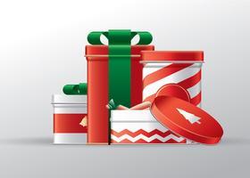 Caixas de lata de presente de natal vetor grátis