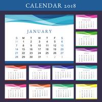 Calendário de calendário de impressão 2018 vetor