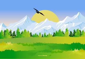 Ilustração bonita da paisagem da montanha