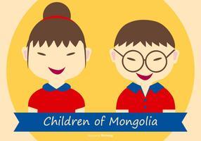 Ilustração de crianças bonitas de mongolia vetor