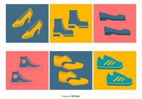 coleção de ícones de sapatos variados