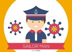 Ilustração do homem marinheiro bonito