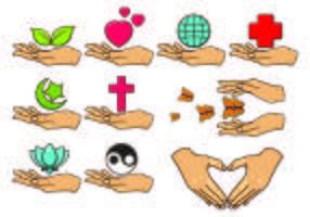 Conjunto de ícone de mãos de cura. vetor