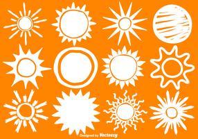 Ícones do sol do vetor desenhado à mão