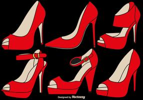Conjunto elegante de chinelos de rubi do vetor