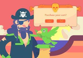Capitão Pirate And Bird vetor