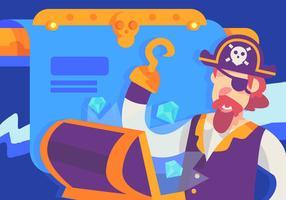 Capitão pirata encontrado tesouro vetor