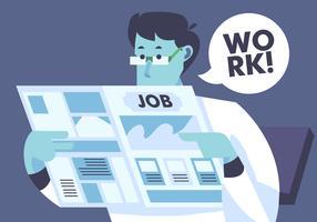 Pesquisa de emprego no documento de notícias vetor