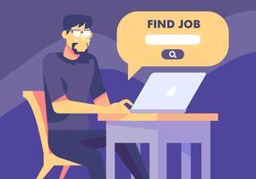 Pesquisa de emprego através do site vetor