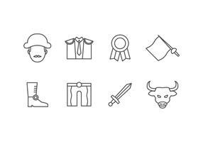 Ícones do jogo Bullfighter vetor