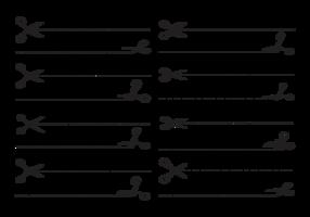 Vetor de tesouras com linhas cortadas