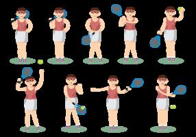 Feminino Jogando Tênis vetor