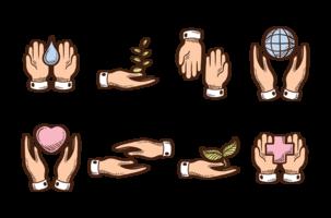 Mãos de cura desenhadas à mão vetor