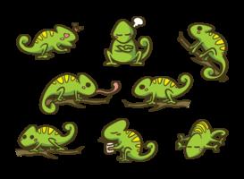 Vetor dos desenhos animados camaleão