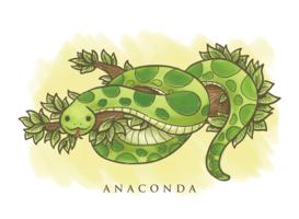 Anaconda cartoon illustration vetor