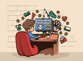 ilustração do computador de phishing hacker vetor