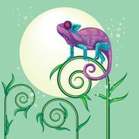 Lagarto de camaleão violeta bonito de pé em uma planta vetor