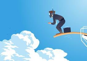 Homem de negócios pronto para saltar do trampolim vetor