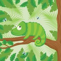 Camaleão Com Fundo Florestal vetor