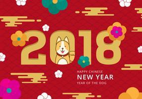 Ano novo chinês do fundo do vetor do cão