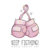 lindas luvas de boxe para o dia do câncer vetor
