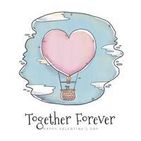 Ballon de ar bonito com forma de coração no Skype vetor
