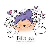 Cupido bonito sorrindo com flechas e coração ao dia dos namorados vetor