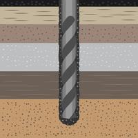 Conceito de Geomecânica com broca de terra e ilustração do solo vetor