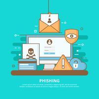 Internet Phishing, Scams e ilustração do conceito de segurança