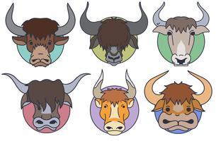 Vector Set Of Yak Head - Estilo dos desenhos animados