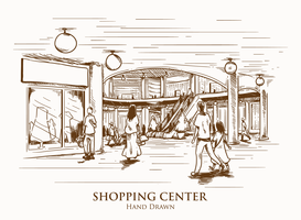 Ilustração desenhada mão do Shopping Center vetor
