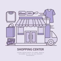 ilustração do centro de compras vetoriais vetor