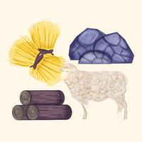 Recursos naturais desenhados a mão do vetor