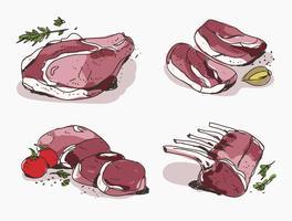 Ilustração vetorial desenhada a mão de veal fresco vetor