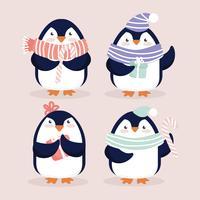 vetor bonitos pinguins christmasy