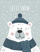 deixe nevar cartão vetorial vetor