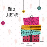 Cartão de Natal desenhado à mão vetor