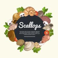 Ilustração vetorial de exibição de alimentos Scallops vetor